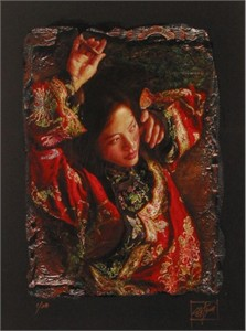 "George Tsui Handsigned and Numbered Limited Edition Chiarograph  on Paper :""Red Butterfly"""