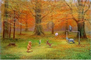 "Peter Ellenshaw Limited Edition Giclee on Canvas :""Pooh Soccer """