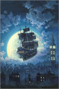 "Rodel Gonzalez Signed Limited Edition Hand-Embellished Canvas Giclée:""Sailing Into the Moon"""