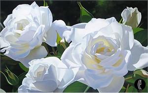 "Brian Davis Limited Edition Giclee on Canvas:""White Rose Garden"""