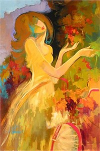 "Irene Sheri  Handsigned & Numbered Limited Edition Hand Embellished Textured Canvas Giclee: ""At the Vineyard"""