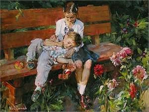 "Garmash Limited Edition Embellished Giclee on Canvas :""Garden Treasures"""