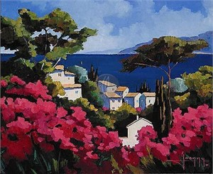 "Joanny Limited Edition Embellished Giclee on Canvas :""Bouganvilleas Along The Sea"""