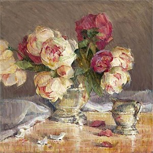 "Jan Saia Limited Edition Giclee on Canvas :"" Peonies & Silver"""