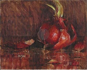 "Jan Saia Limited Edition Giclee on Canvas :"" Red Onions"""