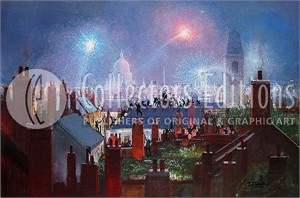 "Peter Ellenshaw Limited Edition Giclee on Canvas :"" Sweeps Dance Over Rooftops"""