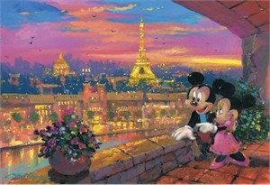 "James Coleman Handsigned and Numbered Limited Edition Embellished Giclee on Canvas: ""A Paris Sunset"""
