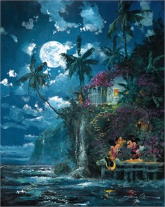 "James Coleman Signed and Numbered Limited Edition Hand-Embellished Giclée on Canvas:""Night Fishin' in Paradise"""
