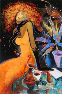 "Irene Sheri Handsigned and Numbered Limited Edition Embellished Giclee on Canvas: ""First Snow, First Letter"""