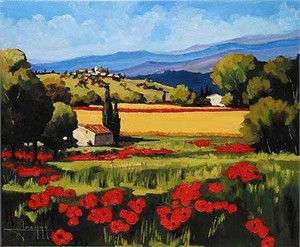 "Joanny Handsigned and Numbered Limited Edition Giclee on Canvas:""Summer Poppies"""