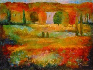 "Lela Limited Edition Embellished Giclee on Canvas:""Field of  Dreams"""