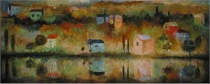 "Lela Handsigned and Numbered Limited Edition Giclee on Canvas:""In The Village"""