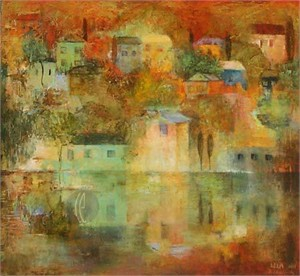 """Lela Handsigned and Numbered Limited Edition Giclee on Canvas:""""Reflections of Autumn"""""""