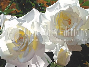 "Brian Davis Limited Edition Giclee on Canvas :""White Radiant Roses"""