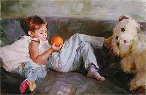 "Garmash Limited Edition Embellished Giclee on Canvas:""Boy With Orange"""