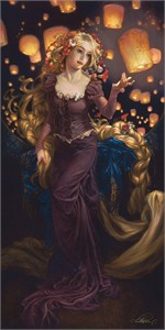 "Heather Theurer Hand-Signed and Numbered Limited Edition Hand-Embellished Textured Canvas Giclee:""I See the Light - Tangled """