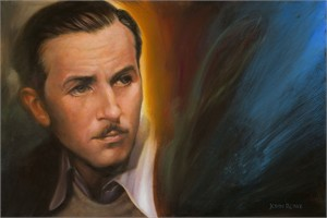 "John Rowe Signed and Numbered Limited Edition Hand-Embellished Giclée on Canvas:""A Man and His Dream (Walt Disney)"""