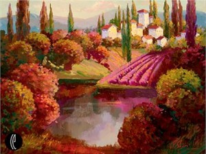 "Irene Sheri Handsigned and Numbered Limited Edition Embellished Giclee on Canvas: ""Hidden Pond"""