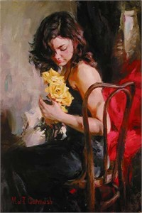 """Garmash Handsigned and Numbered Limited Edition Embellished Giclee on Canvas:""""Yellow Roses"""""""
