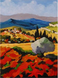 "Joanny Handsigned and Numbered Limited Edition Giclee on Canvas:""Fall In Provence"""