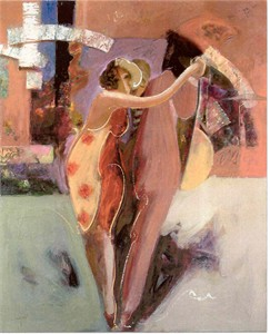 "Sabzi Limited Edition Embellished Giclee on Canvas:""Passionate Dance"""