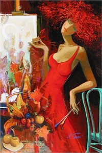 """Irene Sheri Handsigned and Numbered Limited Edition Embellished Giclee on Canvas: """"Fall Feelings, A Premonition"""""""
