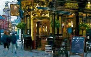 """Eugene Segal Handsigned and Numbered Embellished Giclee on Canvas:""""Corner Cafe"""""""