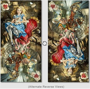 """Heather Theurer Hand-Signed and Numbered Limited Edition Hand-Embellished Textured Canvas Giclee:""""We're All Mad Here (Reversible)"""""""
