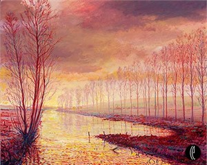 "Harrison Ellenshaw Handsigned & Numbered Limited Edition Giclee on Canvas:""The River Indre Near Reignac"""