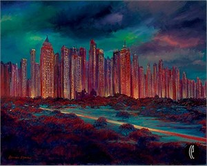 """Harrison Ellenshaw Handsigned & Numbered Limited Edition Giclee on Canvas:""""Gotham Night """""""