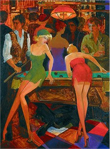 """Avtandil Limited Edition Embellished Giclee on Canvas:""""Game of Pool"""""""