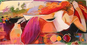 "Irene Sheri Handsigned & Numbered Limited Edition Giclee on Canvas:""Red Summer"""