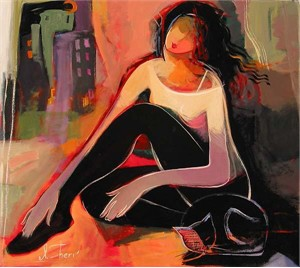 "Irene Sheri Handsigned & Numbered Limited Edition Giclee on Canvas:""Late Evening"""