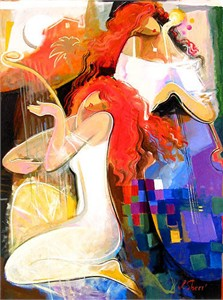 "Irene Sheri Handsigned & Numbered Limited Edition Giclee on Canvas:""Morning Music"""