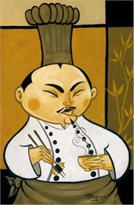 "Tim Rogerson Handsigned and Numbered Embellished Giclee on Canvas:""Miso Hungry"""