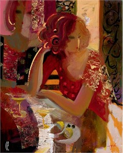"Sabzi Handsigned and Numbered Limited Edition Giclee on Canvas :""Cocktails in the City"""