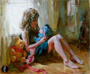 """Garmash Handsigned & Numbered Limited Edition Embelleshed Giclee on Canvas:"""" Among Friends"""""""