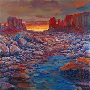 """Harrison Ellenshaw Handsigned & Numbered Limited Edition Giclee on Canvas:""""Desert Pool"""""""