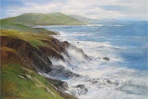 "Peter Ellenshaw Handsigned & Numbered Limited Edition Giclee on Canvas:""Crashing Waves"""