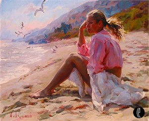 "Garmash Handsigned & Numbered Limited Edition Embelleshed Giclee on Canvas:""By the Shore"""