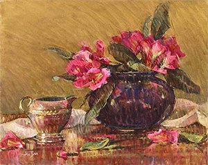 "Saia Handsigned & Numbered Limited Edition Giclee on Canvas:""Pink Rhododendrons"""