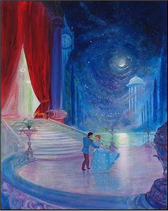 "Peter Ellenshaw Handsigned and Numbered Limited Edition Embellished Giclee on Canvas: ""So this is Love"""