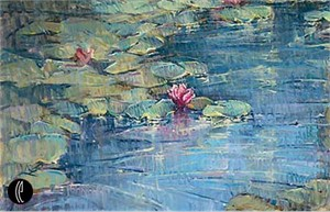 "Jan Saia Limited Edition Embellished Giclee on Canvas:""Lily Pond"""