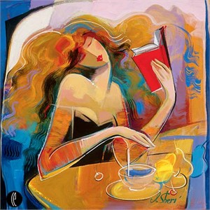 """Irene Sheri Handsigned & Numbered Limited Edition Giclee on Canvas:""""Poetry Reading"""""""