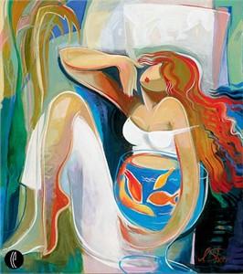 "Irene Sheri Handsigned & Numbered Limited Edition Giclee on Canvas:""Goldfish"""