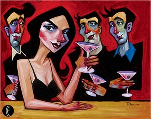"Tim Rogerson Handsigned and Numbered Embellished Giclee on Canvas:""Midnight Martinis"""