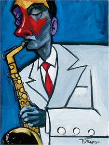 """Tim Rogerson Handsigned and Numbered Embellished Giclee on Canvas:""""In The Groove"""""""