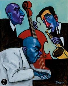 "Tim Rogerson Handsigned and Numbered Embellished Giclee on Canvas:""Jazz Trio"""