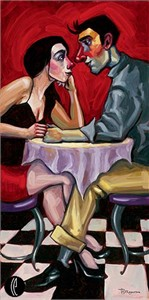 """Tim Rogerson Handsigned and Numbered Embellished Giclee on Canvas:""""Love Is In The Air"""""""