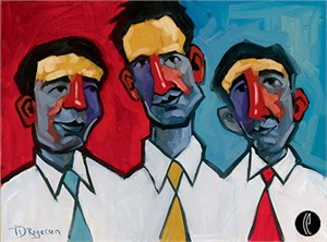 "Tim Rogerson Handsigned and Numbered Embellished Giclee on Canvas:""Three Guys Named Joe"""